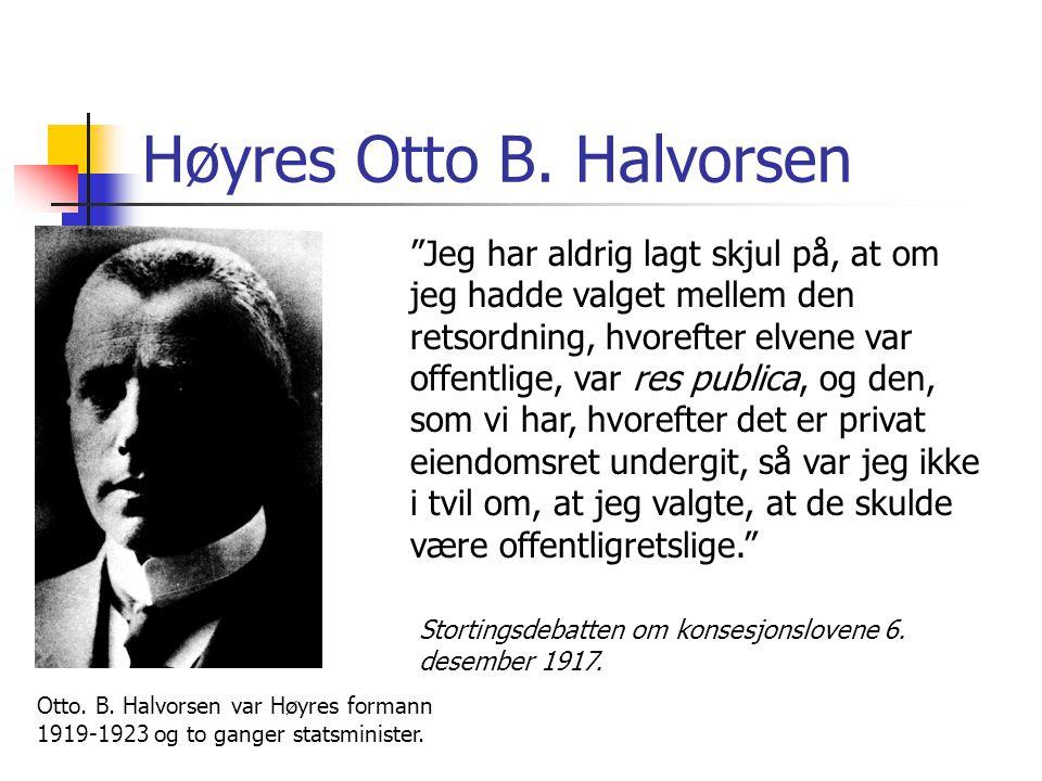 "Høyres Otto B. Halvorsen ""Jeg har aldrig lagt skjul på, at om jeg hadde valget mellem den retsordning, hvorefter elvene var offentlige, var res public"