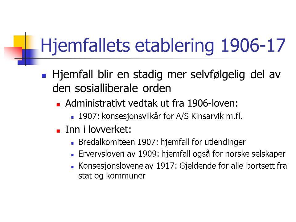 Hjemfallets etablering 1906-17 Hjemfall blir en stadig mer selvfølgelig del av den sosialliberale orden Administrativt vedtak ut fra 1906-loven: 1907: