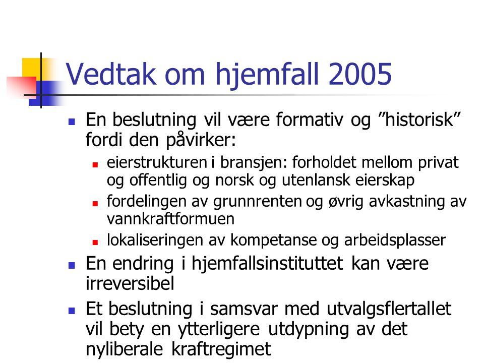 """Vedtak om hjemfall 2005 En beslutning vil være formativ og """"historisk"""" fordi den påvirker: eierstrukturen i bransjen: forholdet mellom privat og offen"""