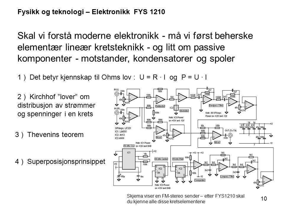 10 Fysikk og teknologi – Elektronikk FYS 1210 Skal vi forstå moderne elektronikk - må vi først beherske elementær lineær kretsteknikk - og litt om pas