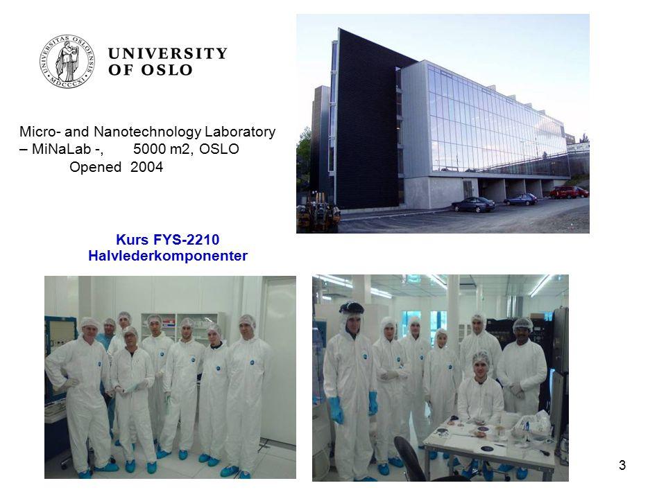 3 Kurs FYS-2210 Halvlederkomponenter Micro- and Nanotechnology Laboratory – MiNaLab -, 5000 m2, OSLO Opened 2004