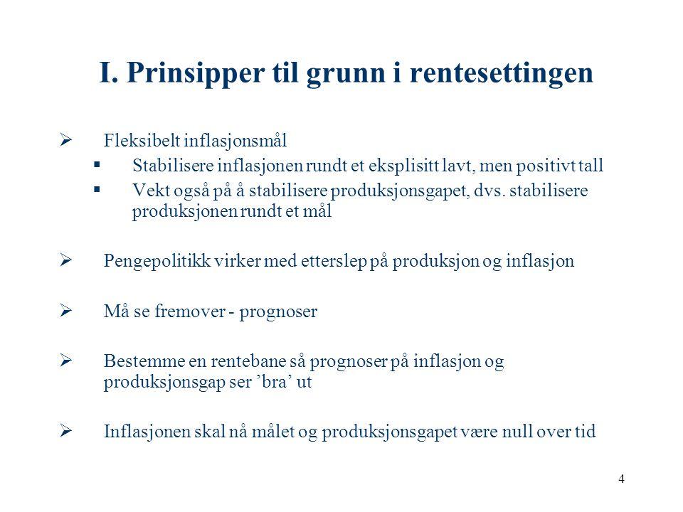 4 I. Prinsipper til grunn i rentesettingen  Fleksibelt inflasjonsmål  Stabilisere inflasjonen rundt et eksplisitt lavt, men positivt tall  Vekt ogs