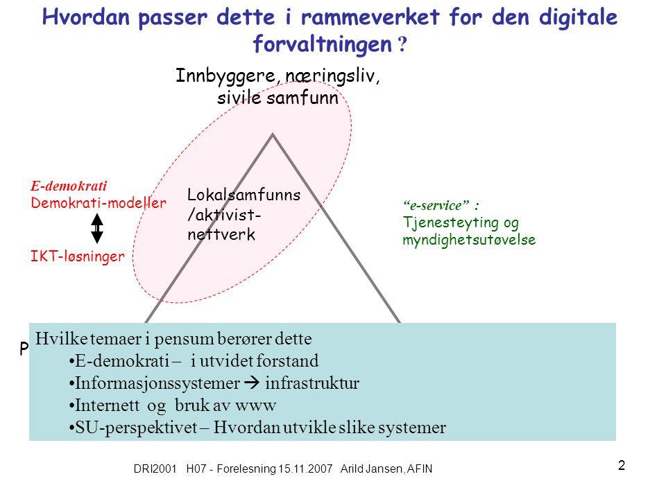DRI2001 H07 - Forelesning 15.11.2007 Arild Jansen, AFIN 2 Hvordan passer dette i rammeverket for den digitale forvaltningen .