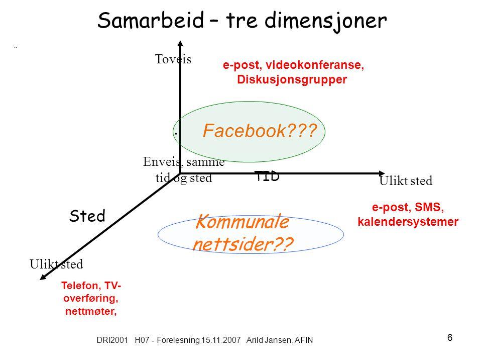 DRI2001 H07 - Forelesning 15.11.2007 Arild Jansen, AFIN 7 Litt historie : Hvorfor elektroniske lokalsamfunn – ( virtuelle nettverk ) Fase 1: 70-tallet : lokale oppslagstavler (memories): Eks: mulighet til å publisere elektronisk (offentlig forum, parallelt til aviser) Fase 2: (80-tallet) Gratis tilgang til informasjons- og kommunikasjonssystemer Eks: tidlig bruk av Internett, enkle diskusjonsfora mm Fase 3: Internett med e-post & www, men drevet av frivillig av ressurspersoner Formål tilby tilgang for ressursvake (på vegne av andre) Eks: http://www.sustainable.org/, http://www.scn.org/http://www.sustainable.org/ http://www.scn.org/ Fase 4.