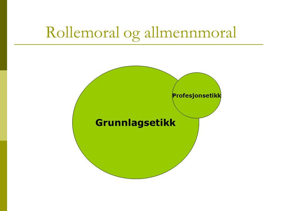 Rollemoral og allmennmoral Grunnlagsetikk Profesjonsetikk