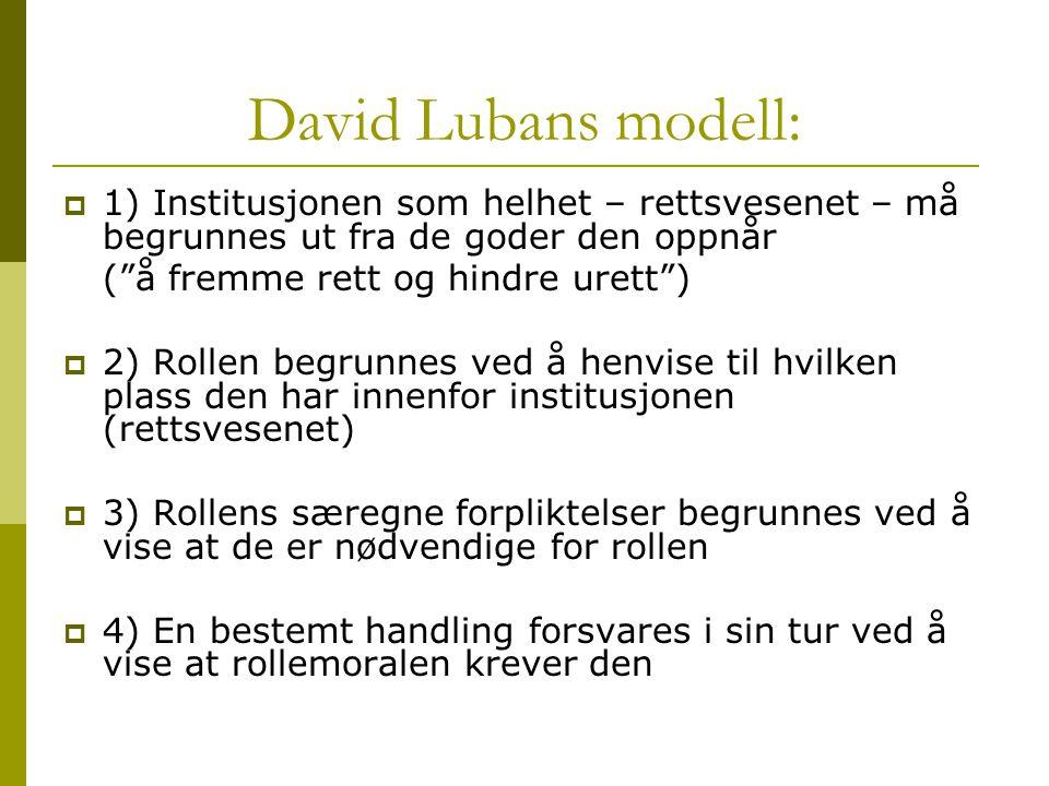 """David Lubans modell:  1) Institusjonen som helhet – rettsvesenet – må begrunnes ut fra de goder den oppnår (""""å fremme rett og hindre urett"""")  2) Rol"""