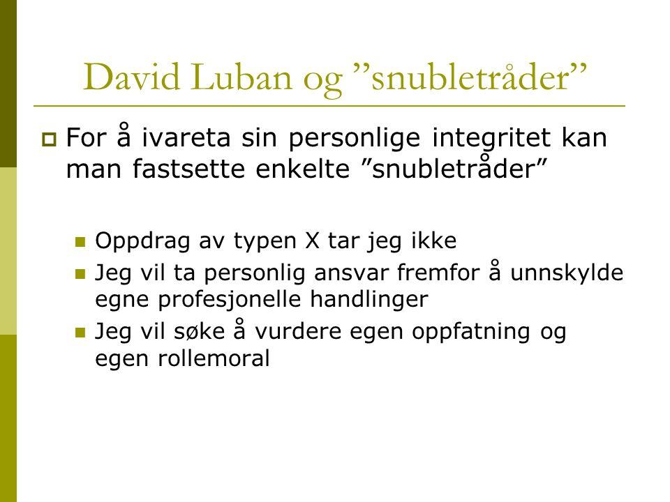 """David Luban og """"snubletråder""""  For å ivareta sin personlige integritet kan man fastsette enkelte """"snubletråder"""" Oppdrag av typen X tar jeg ikke Jeg v"""