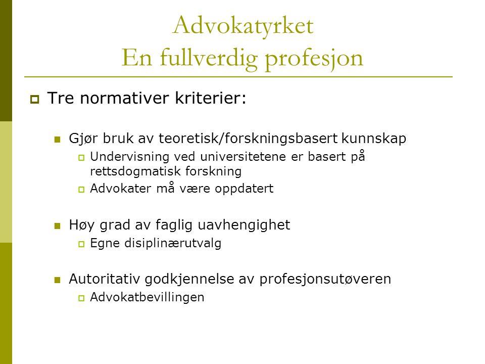 Advokatyrket En fullverdig profesjon  Tre normativer kriterier: Gjør bruk av teoretisk/forskningsbasert kunnskap  Undervisning ved universitetene er
