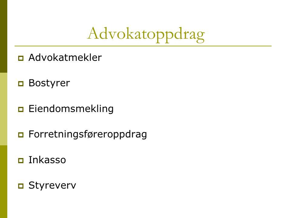 Advokatoppdrag  Advokatmekler  Bostyrer  Eiendomsmekling  Forretningsføreroppdrag  Inkasso  Styreverv