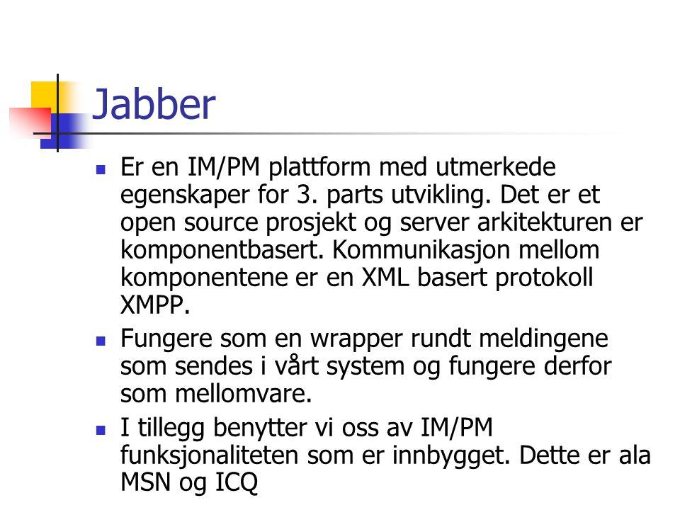 Jabber Er en IM/PM plattform med utmerkede egenskaper for 3. parts utvikling. Det er et open source prosjekt og server arkitekturen er komponentbasert
