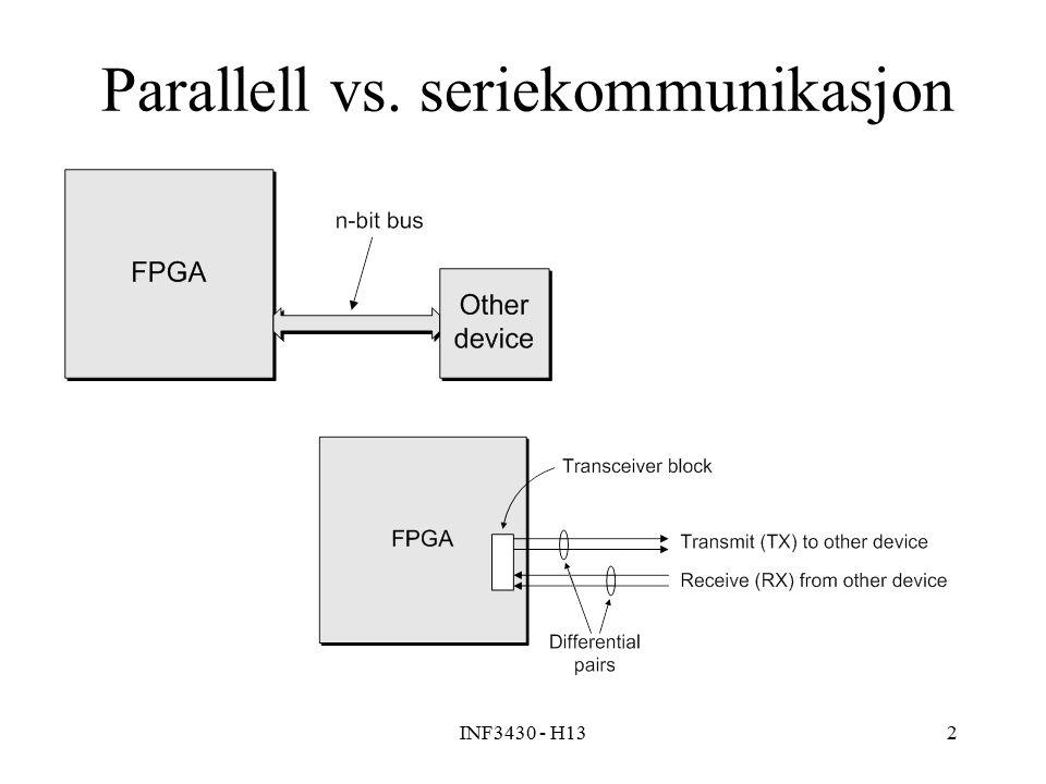 INF3430 - H132 Parallell vs. seriekommunikasjon