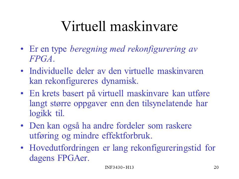 INF3430 - H1320 Virtuell maskinvare Er en type beregning med rekonfigurering av FPGA.
