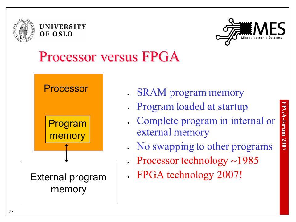 FPGA-forum 2007 25 Processor versus FPGA Processor Program memory SRAM program memory Program loaded at startup Complete program in internal or external memory No swapping to other programs Processor technology ~1985 FPGA technology 2007.