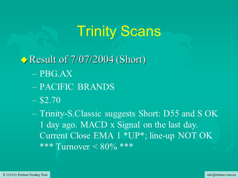 udo@rettmer.com.au © 2004 by Rettmer Trading Trust Trinity Scans u Result of 7/07/2004 (Short) – –PBG.AX – –PACIFIC BRANDS – –$2.70 – –Trinity-S.Classic suggests Short: D55 and S OK 1 day ago.