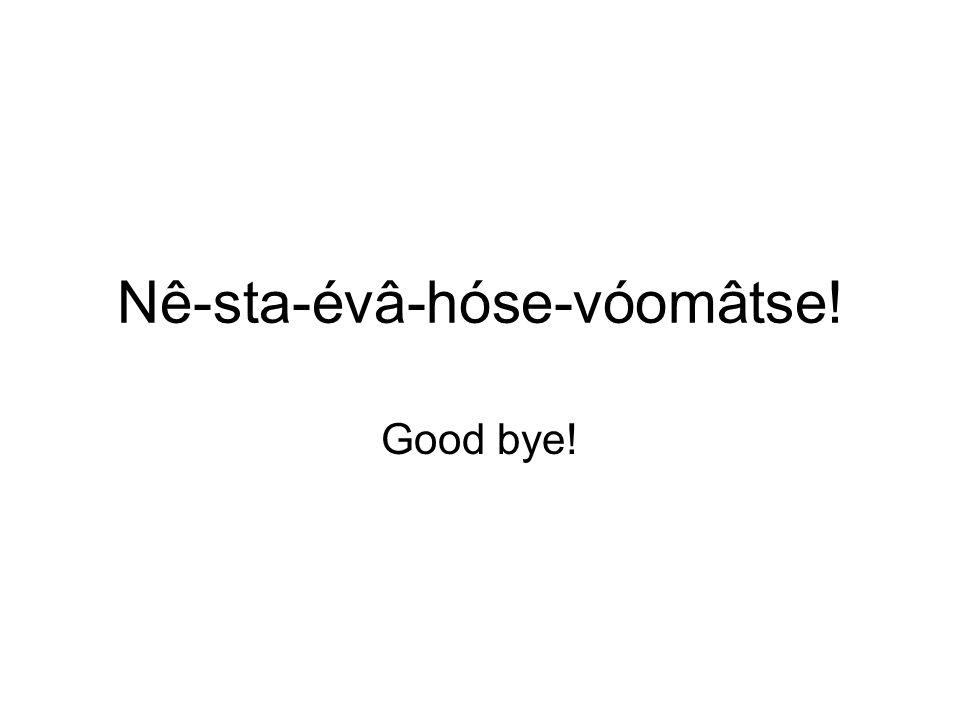 Nê-sta-évâ-hóse-vóomâtse! Good bye!