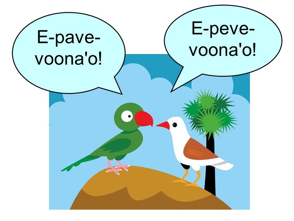 E-pave- voona'o! E-peve- voona'o!