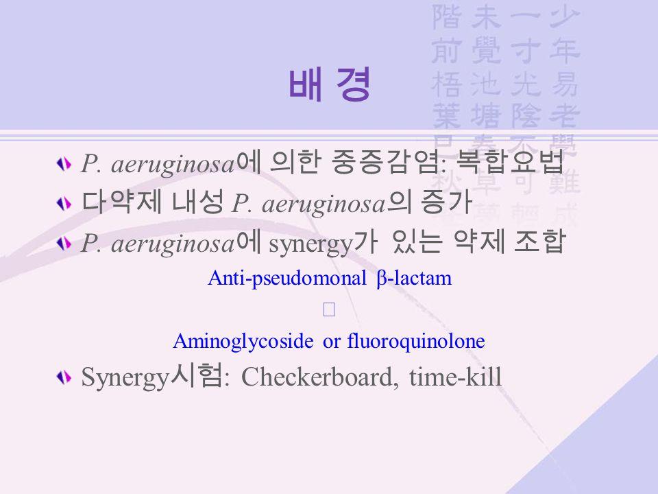 배 경배 경 P. aeruginosa 에 의한 중증감염 : 복합요법 다약제 내성 P. aeruginosa 의 증가 P. aeruginosa 에 synergy 가 있는 약제 조합 Anti-pseudomonal β-lactam ╋ Aminoglycoside or fluor