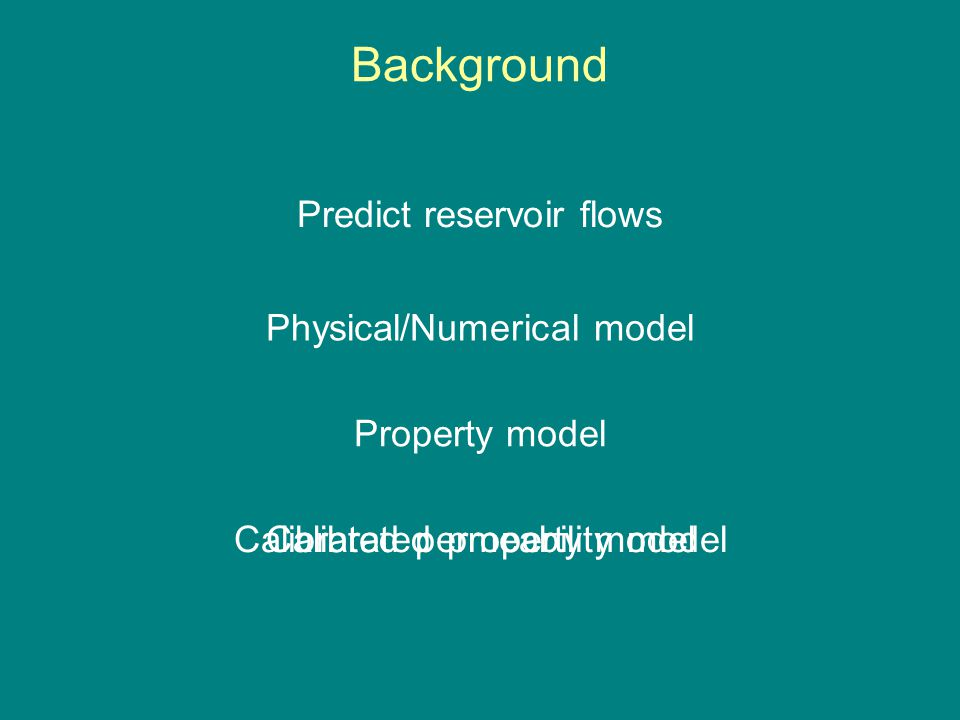 Background Predict reservoir flows Property model Physical/Numerical model Calibrated property modelCalibrated permeability model