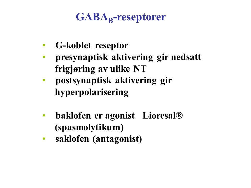 GABA B -reseptorer G-koblet reseptor presynaptisk aktivering gir nedsatt frigjøring av ulike NT postsynaptisk aktivering gir hyperpolarisering baklofe