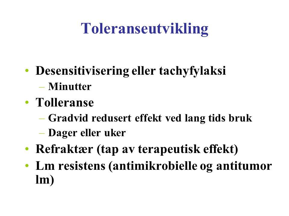 Toleranseutvikling Desensitivisering eller tachyfylaksi –Minutter Tolleranse –Gradvid redusert effekt ved lang tids bruk –Dager eller uker Refraktær (
