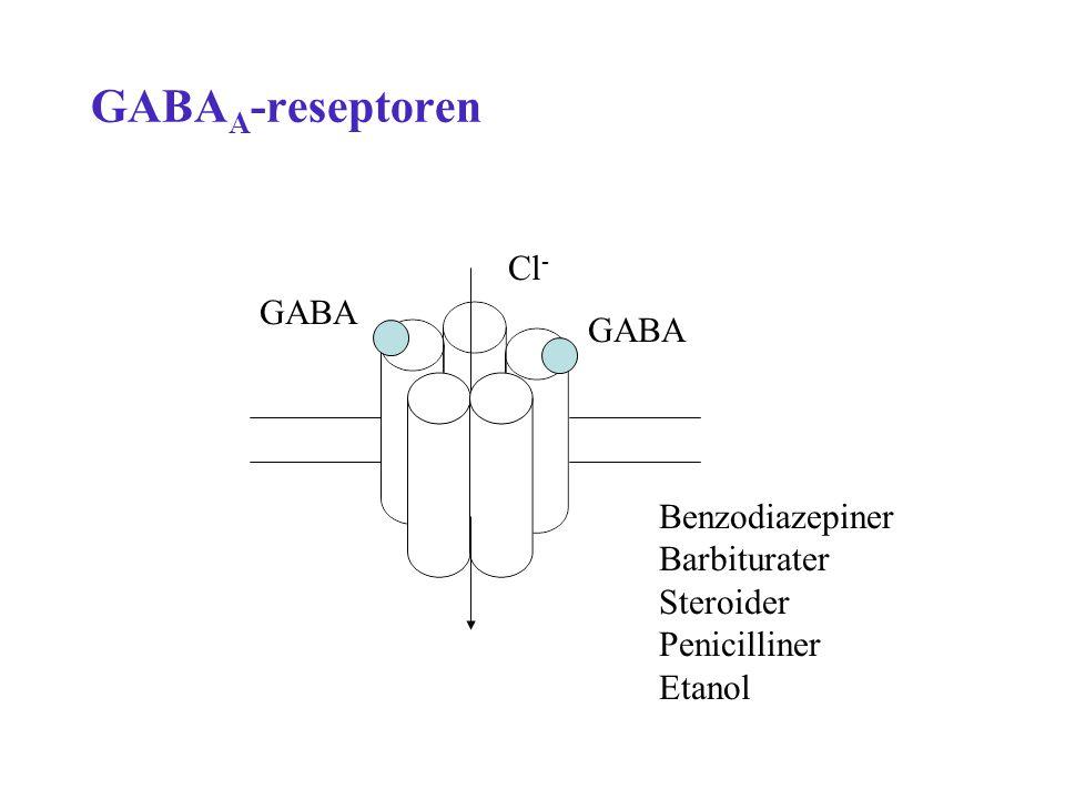 Barbiturater Virkningsmekanisme: uklar - øker åpningstid av GABA A Dempende effekt på CNS Bruk: anestesi og epilepsi Ulemper: –farlig ved overdose –interaksjoner (induksjon) –toleranse og avhengighet