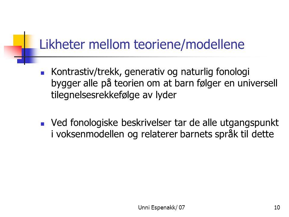 Unni Espenakk/ 0710 Likheter mellom teoriene/modellene Kontrastiv/trekk, generativ og naturlig fonologi bygger alle på teorien om at barn følger en un