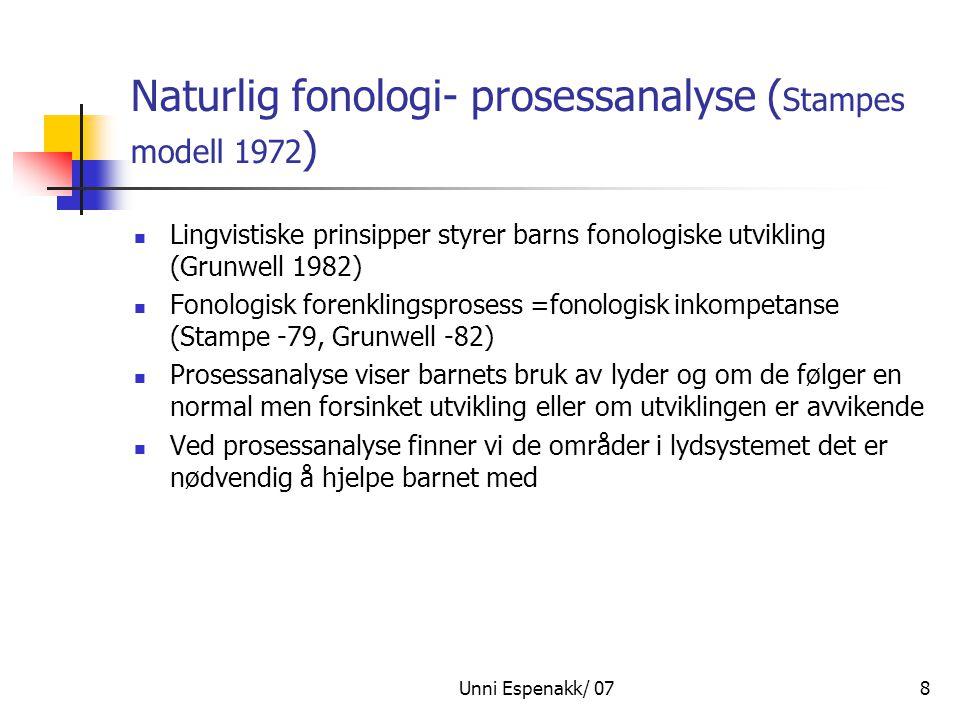 Unni Espenakk/ 078 Naturlig fonologi- prosessanalyse ( Stampes modell 1972 ) Lingvistiske prinsipper styrer barns fonologiske utvikling (Grunwell 1982