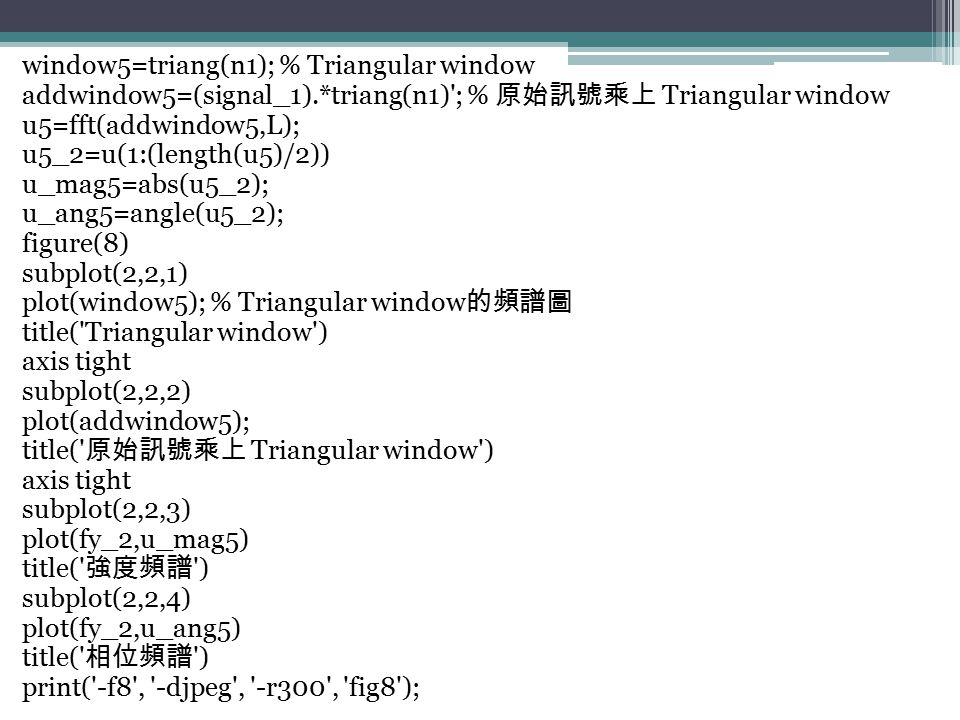 window5=triang(n1); % Triangular window addwindow5=(signal_1).*triang(n1)'; % 原始訊號乘上 Triangular window u5=fft(addwindow5,L); u5_2=u(1:(length(u5)/2))