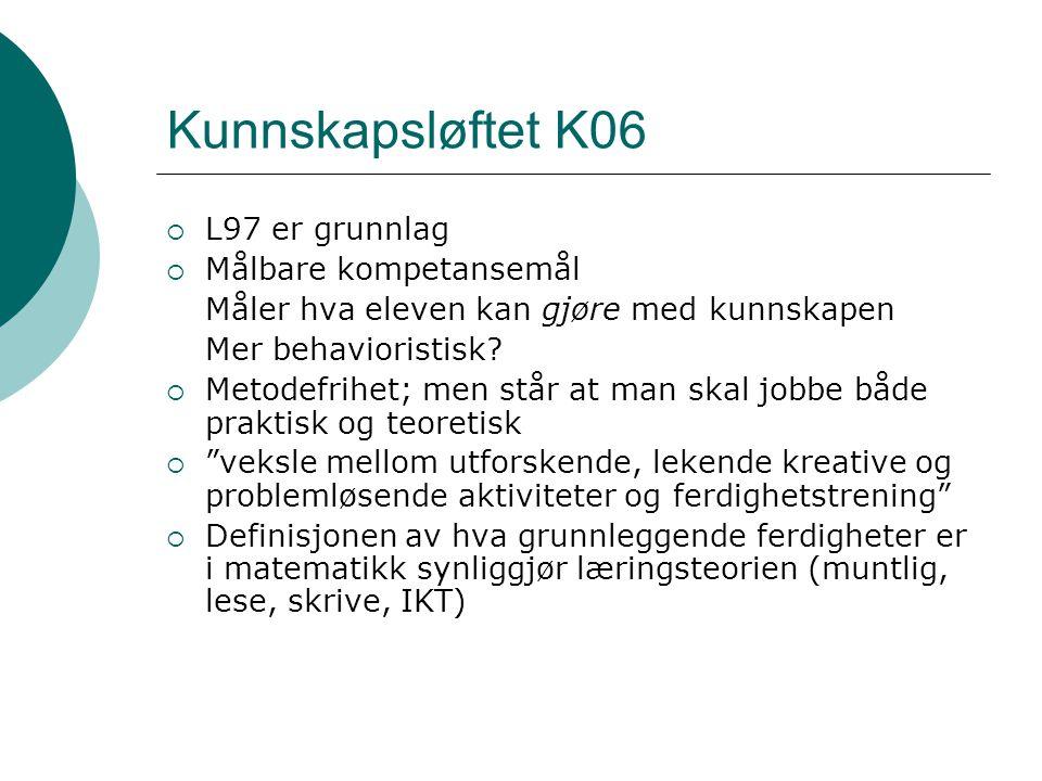 Kunnskapsløftet K06  L97 er grunnlag  Målbare kompetansemål Måler hva eleven kan gjøre med kunnskapen Mer behavioristisk?  Metodefrihet; men står a