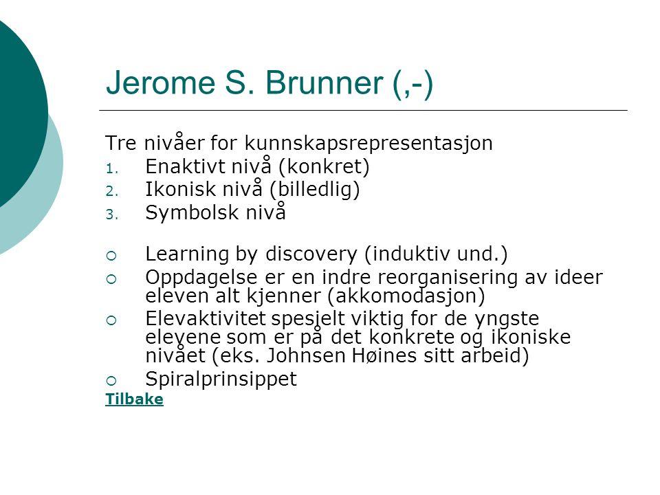 Jerome S. Brunner (,-) Tre nivåer for kunnskapsrepresentasjon 1. Enaktivt nivå (konkret) 2. Ikonisk nivå (billedlig) 3. Symbolsk nivå  Learning by di