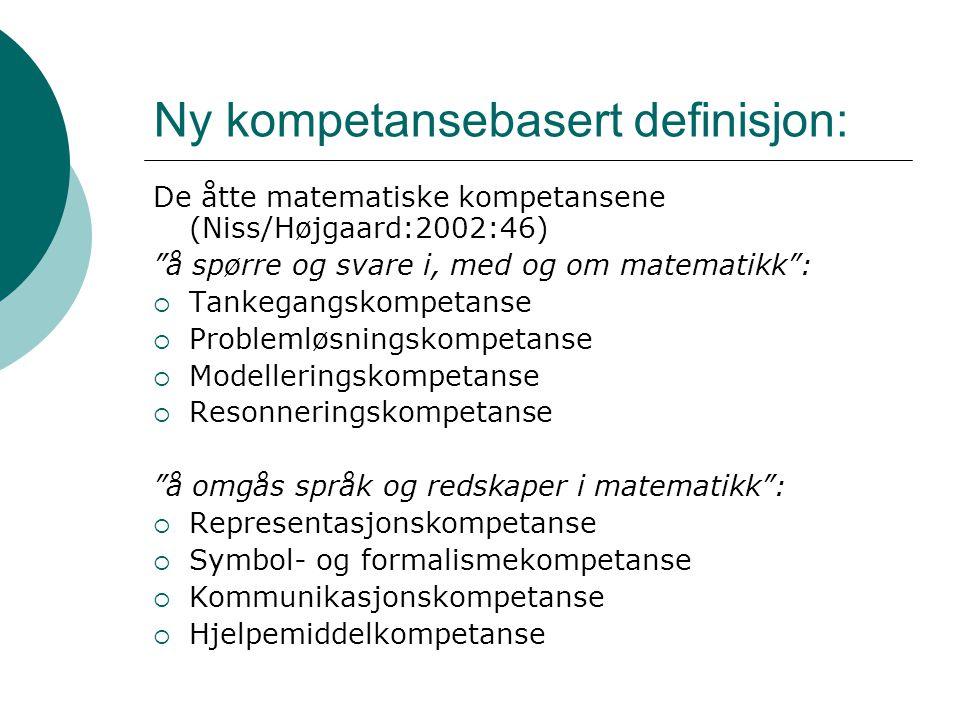 """Ny kompetansebasert definisjon: De åtte matematiske kompetansene (Niss/Højgaard:2002:46) """"å spørre og svare i, med og om matematikk"""":  Tankegangskomp"""