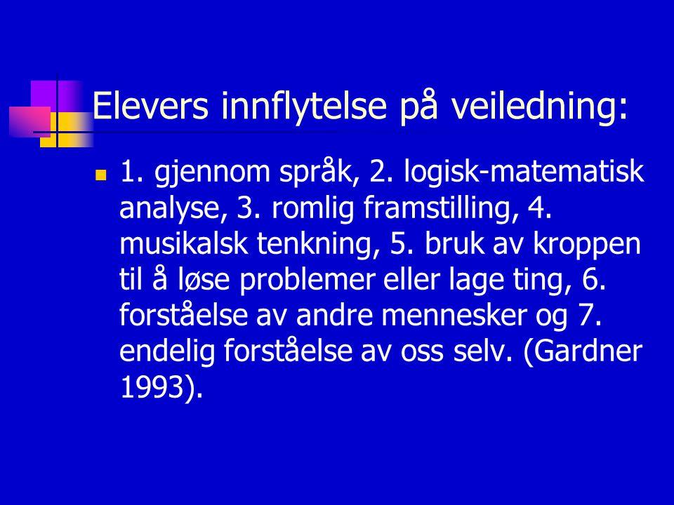 Elevers innflytelse på veiledning: 1. gjennom språk, 2. logisk-matematisk analyse, 3. romlig framstilling, 4. musikalsk tenkning, 5. bruk av kroppen t