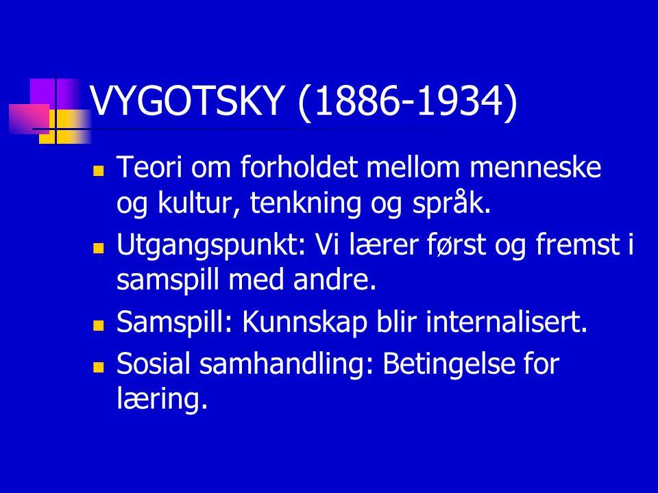 VYGOTSKY (1886-1934) Teori om forholdet mellom menneske og kultur, tenkning og språk. Utgangspunkt: Vi lærer først og fremst i samspill med andre. Sam
