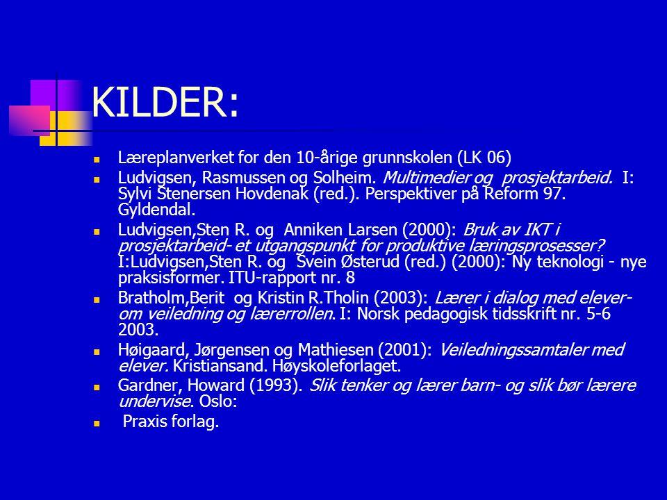 KILDER: Læreplanverket for den 10-årige grunnskolen (LK 06) Ludvigsen, Rasmussen og Solheim. Multimedier og prosjektarbeid. I: Sylvi Stenersen Hovdena