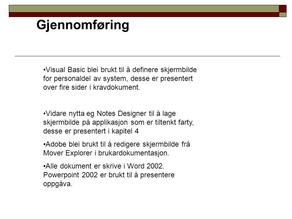 Gjennomføring Visual Basic blei brukt til å definere skjermbilde for personaldel av system, desse er presentert over fire sider i kravdokument. Vidare