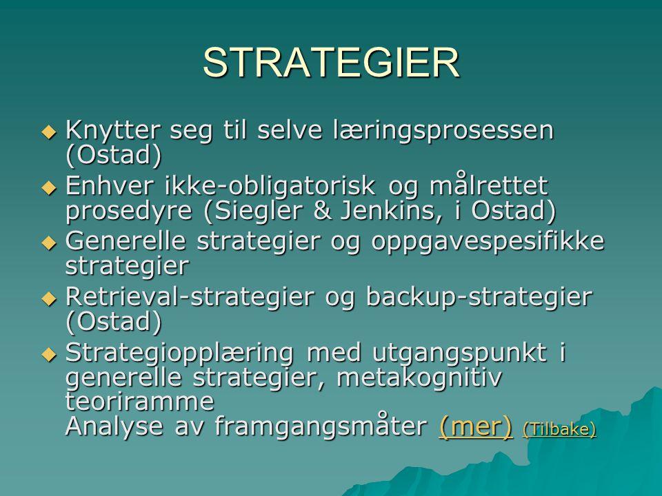 STRATEGIER  Knytter seg til selve læringsprosessen (Ostad)  Enhver ikke-obligatorisk og målrettet prosedyre (Siegler & Jenkins, i Ostad)  Generelle strategier og oppgavespesifikke strategier  Retrieval-strategier og backup-strategier (Ostad)  Strategiopplæring med utgangspunkt i generelle strategier, metakognitiv teoriramme Analyse av framgangsmåter (mer) (Tilbake) (mer) (Tilbake)(mer) (Tilbake)