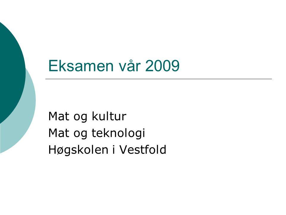 Eksamen vår 2009 Mat og kultur Mat og teknologi Høgskolen i Vestfold