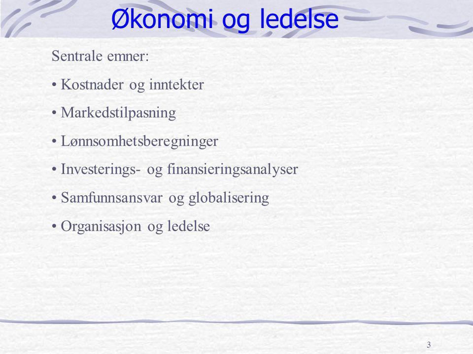 3 Økonomi og ledelse Sentrale emner: Kostnader og inntekter Markedstilpasning Lønnsomhetsberegninger Investerings- og finansieringsanalyser Samfunnsan