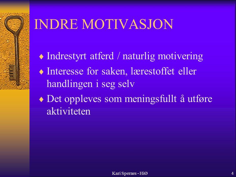 4 INDRE MOTIVASJON  Indrestyrt atferd / naturlig motivering  Interesse for saken, lærestoffet eller handlingen i seg selv  Det oppleves som menings