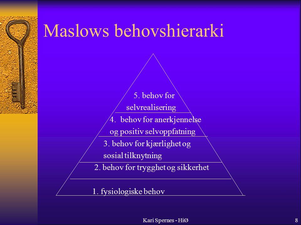8 Maslows behovshierarki 5. behov for selvrealisering 4. behov for anerkjennelse og positiv selvoppfatning 3. behov for kjærlighet og sosial tilknytni