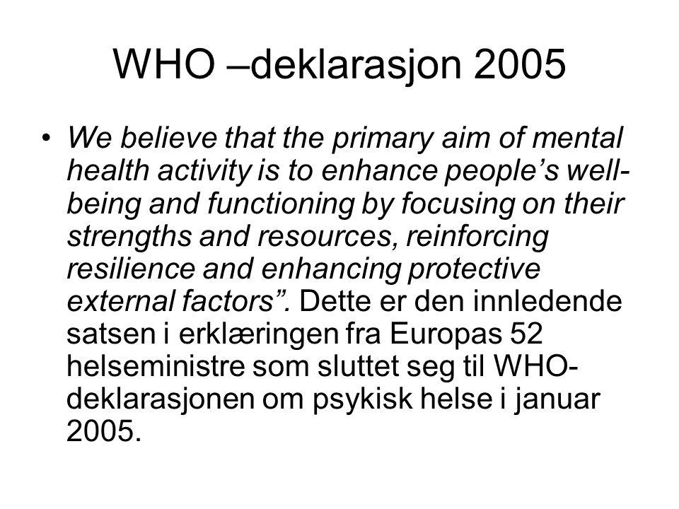 Et fagfelt i endring Fra psykiatri til psykisk helsearbeid Fra medisinsk disiplin.....