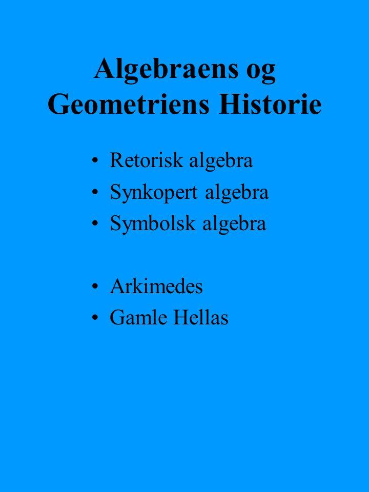 Algebraens og Geometriens Historie Retorisk algebra Synkopert algebra Symbolsk algebra Arkimedes Gamle Hellas