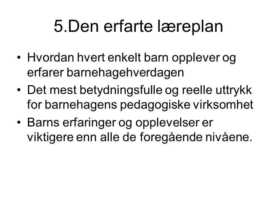 5.Den erfarte læreplan Hvordan hvert enkelt barn opplever og erfarer barnehagehverdagen Det mest betydningsfulle og reelle uttrykk for barnehagens ped