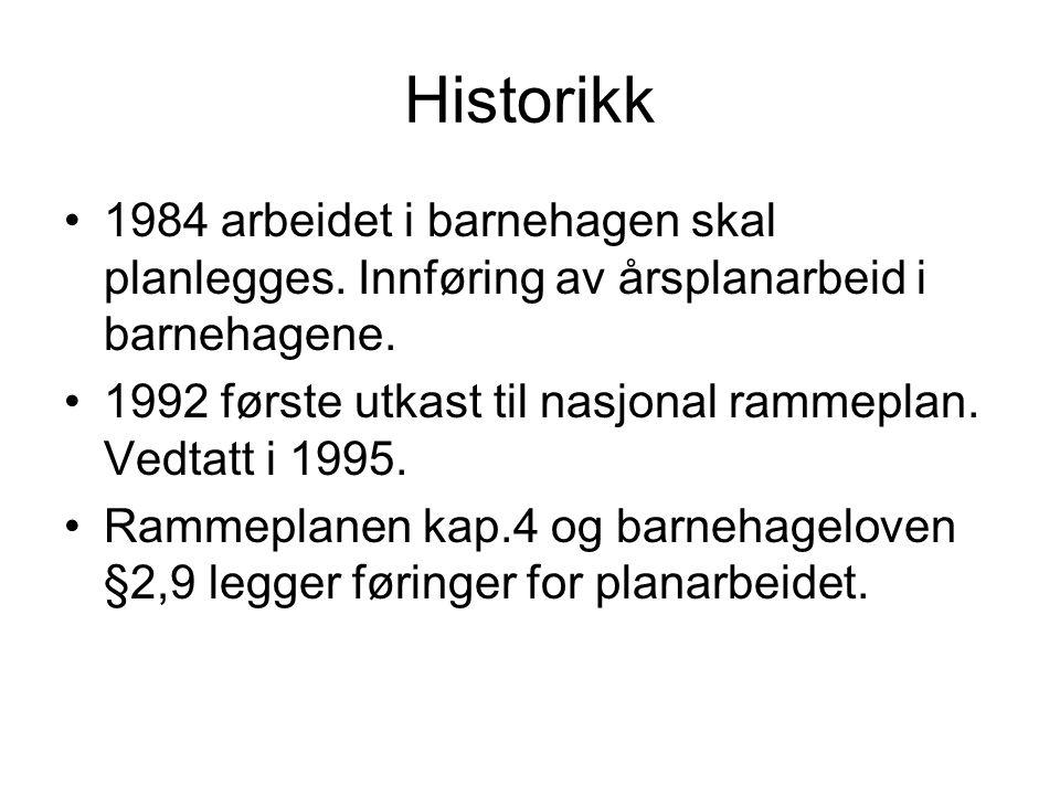 Historikk 1984 arbeidet i barnehagen skal planlegges. Innføring av årsplanarbeid i barnehagene. 1992 første utkast til nasjonal rammeplan. Vedtatt i 1