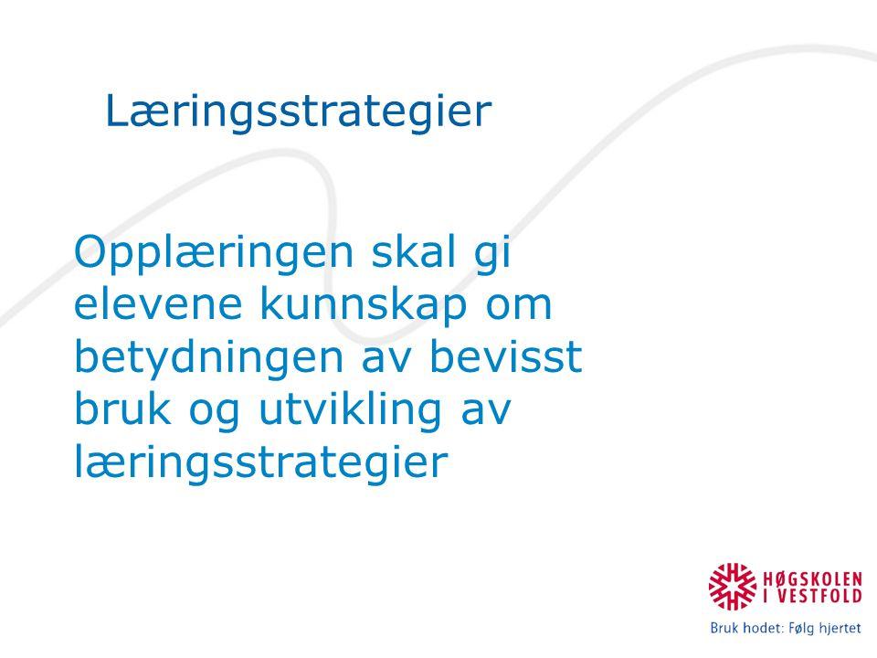 Læringsstrategier Opplæringen skal gi elevene kunnskap om betydningen av bevisst bruk og utvikling av læringsstrategier