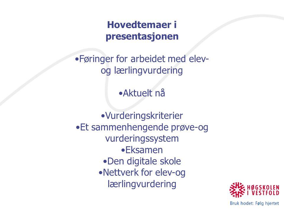 Hovedtemaer i presentasjonen Føringer for arbeidet med elev- og lærlingvurdering Aktuelt nå Vurderingskriterier Et sammenhengende prøve-og vurderingssystem Eksamen Den digitale skole Nettverk for elev-og lærlingvurdering