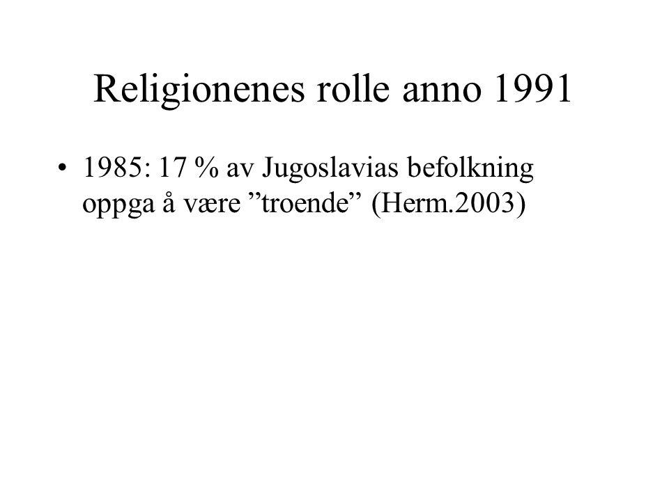 """Religionenes rolle anno 1991 1985: 17 % av Jugoslavias befolkning oppga å være """"troende"""" (Herm.2003)"""