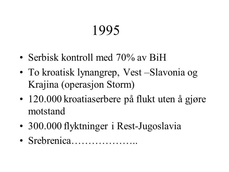 1995 Serbisk kontroll med 70% av BiH To kroatisk lynangrep, Vest –Slavonia og Krajina (operasjon Storm) 120.000 kroatiaserbere på flukt uten å gjøre m