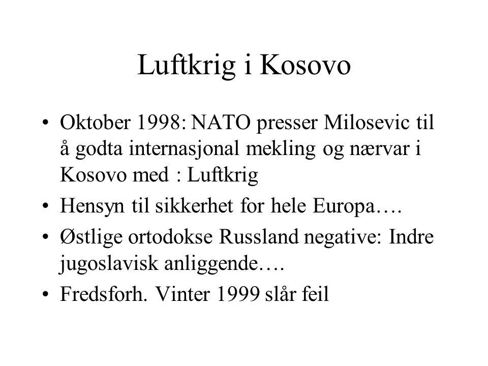Luftkrig i Kosovo Oktober 1998: NATO presser Milosevic til å godta internasjonal mekling og nærvar i Kosovo med : Luftkrig Hensyn til sikkerhet for he