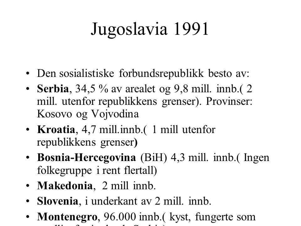 Jugoslavia 1991 Den sosialistiske forbundsrepublikk besto av: Serbia, 34,5 % av arealet og 9,8 mill. innb.( 2 mill. utenfor republikkens grenser). Pro